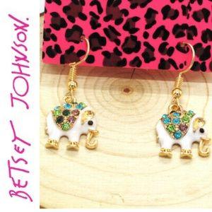 Betsey Johnson elephant earrings hook NWT card
